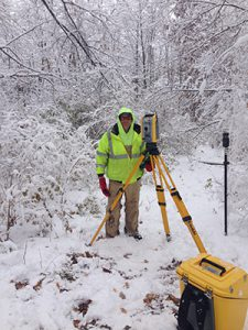 Surveyor in the cold