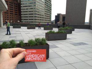 The nearly completed rooftop plaza at DunnhumbyUSA. Landscape Architecture in Cincinnati.