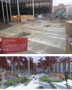 University of Cincinnati Market Pointe + Siddall Hall. Example of Landscape Architecture.
