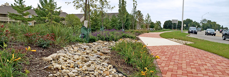 Kleingers provided landscape design to improve the aesthetics of the Beavercreek Gateway utilizing their individual branding.